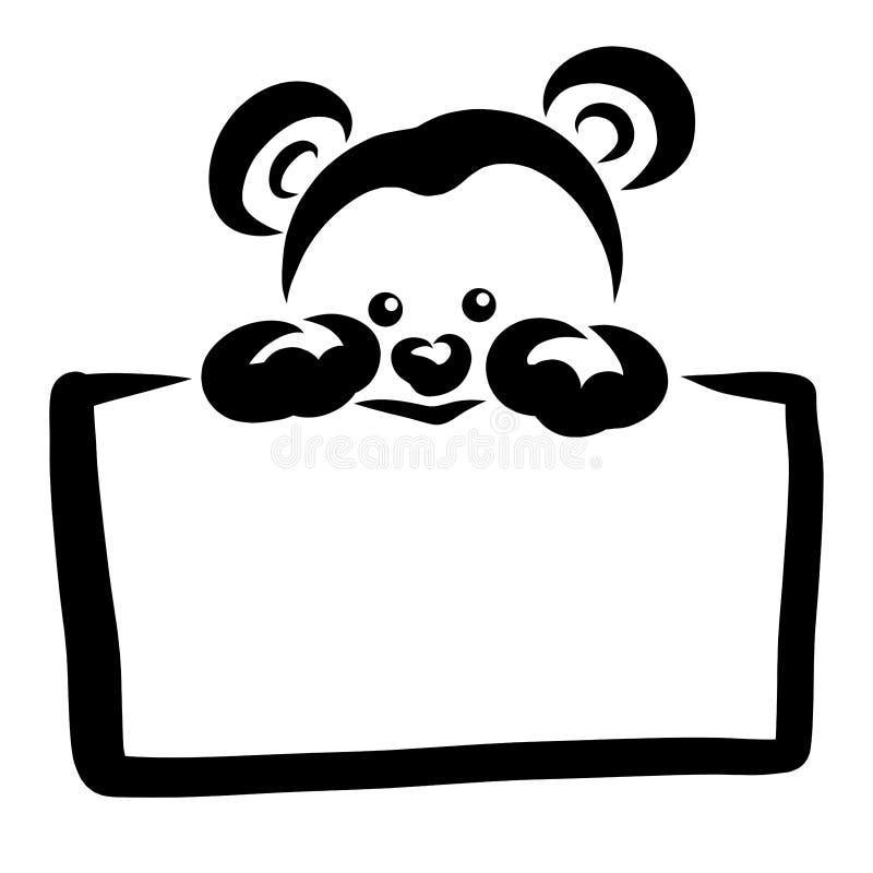 Weinig leuke teddybeer die een lege rechthoekige plaat houden vector illustratie