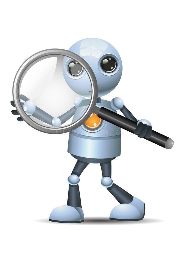 Weinig meer magnifier glas van de robotgreep stock illustratie