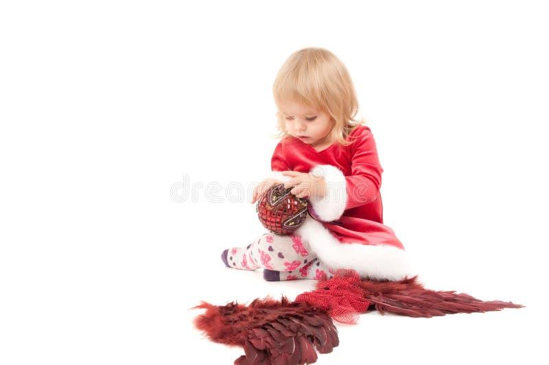 Weinig meisje van de Kerstmisbaby stock fotografie