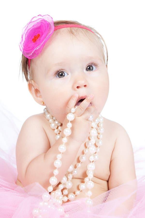 Weinig meisje van de prinsesbaby met toebehoren stock afbeelding