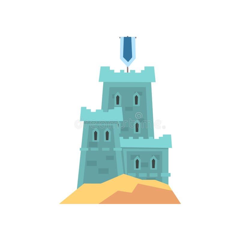 Weinig middeleeuwse vesting in blauwe kleur Oud koninklijk kasteel op heuvel stock illustratie