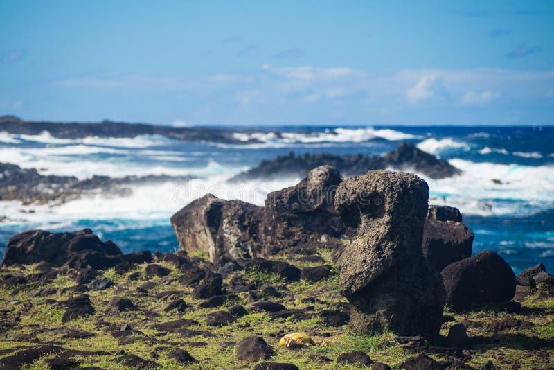 Weinig moai dichtbij Ahu Akahanga in gevallen moais van Pasen eiland royalty-vrije stock afbeelding