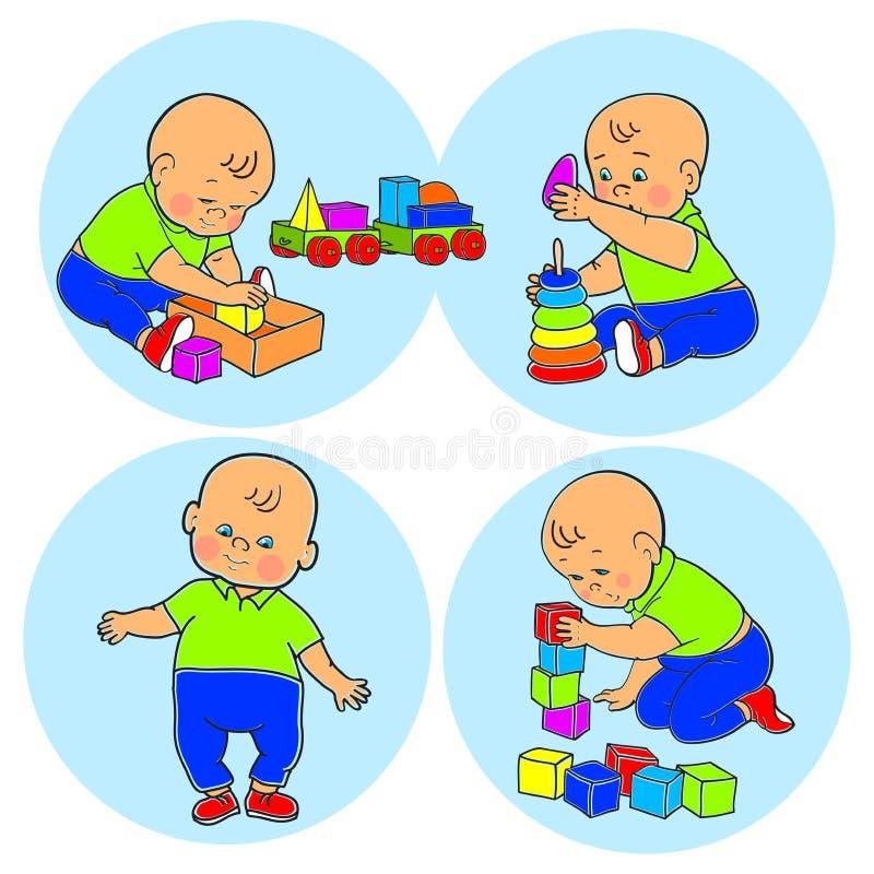 Weinig mooie babyjongen die met speelgoed spelen Jong geitjespelen met piramide stock illustratie