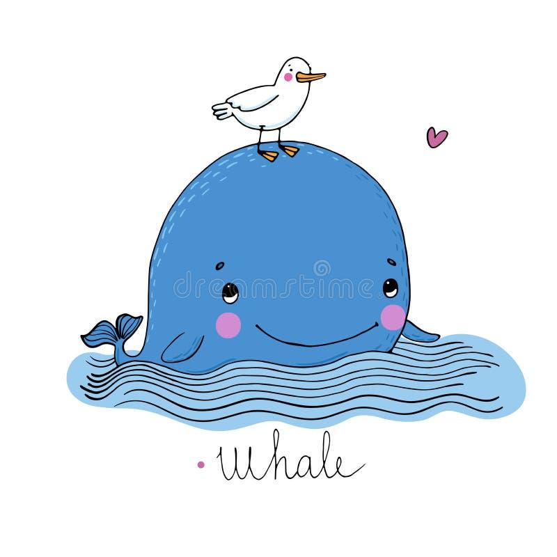 Weinig mooie walvis en zeemeeuw stock illustratie