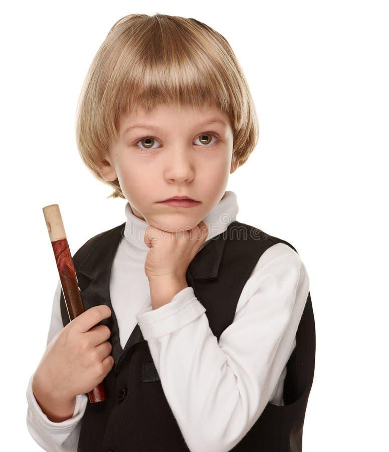 Weinig musicus Boy met Fife stock afbeelding