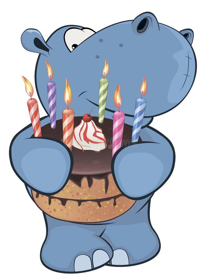 Weinig nijlpaard beeldverhaal vector illustratie
