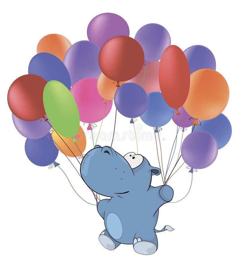 Weinig nijlpaard en multicolored ballons beeldverhaal vector illustratie