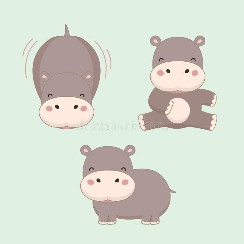 Weinig nijlpaardbeeldverhaal Vector illustratie royalty-vrije illustratie