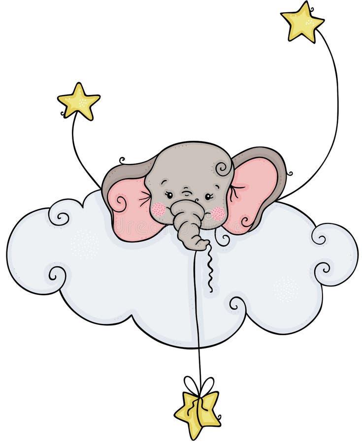 Weinig olifant die uit wolk met sterren gluren vector illustratie