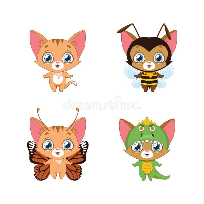 Weinig oranje gestreepte kat in diverse dierlijke kostuums stock illustratie
