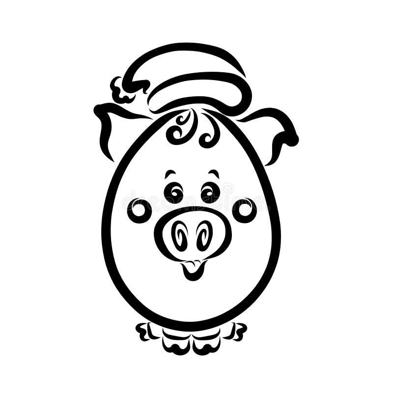 Weinig ovaal varken in een hoed, grappige baby stock illustratie