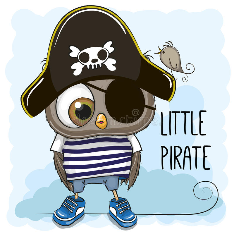 Weinig Owl Pirate stock illustratie