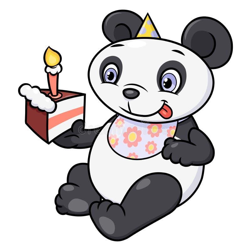 Weinig panda die verjaardagscake eten royalty-vrije illustratie