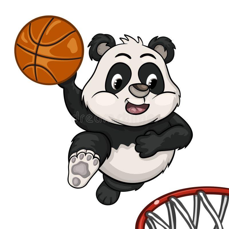 Weinig panda speelt basketbal royalty-vrije illustratie