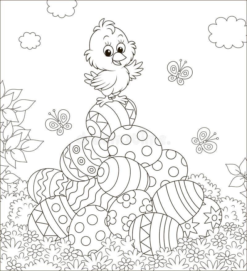 Weinig Pasen-Kuiken op een stapel van verfraaide eieren vector illustratie