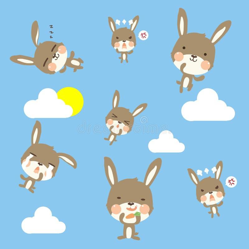 Weinig patroon en wolk van het konijn patternLittle konijn op hemel vector illustratie