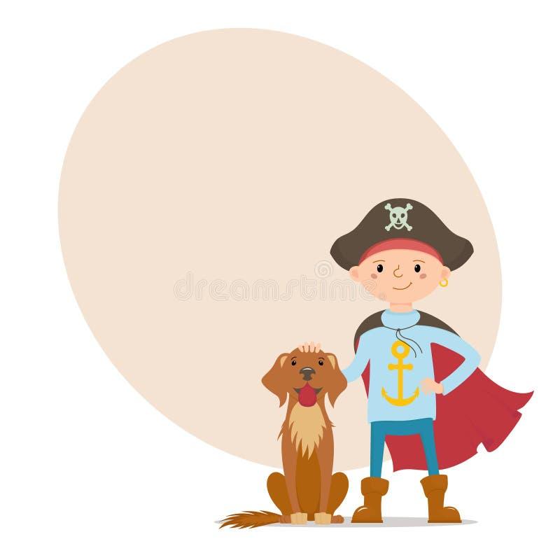 Weinig piraatjongen met hond en plaats voor tekst stock illustratie