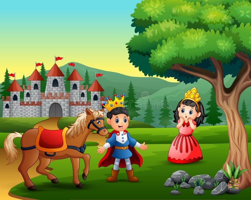 Weinig prins en prinses op de weg aan het kasteel stock illustratie