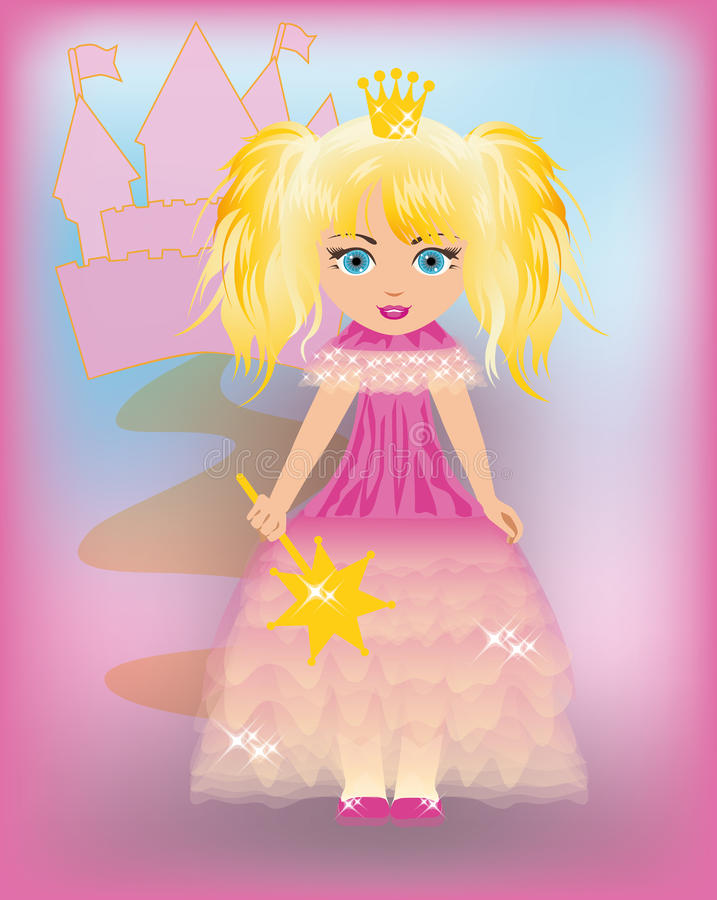 Weinig prinses in een roze kleding vector illustratie