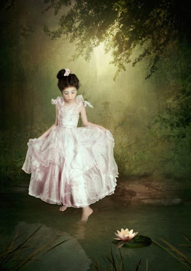Weinig prinses en waterlelie royalty-vrije stock foto's