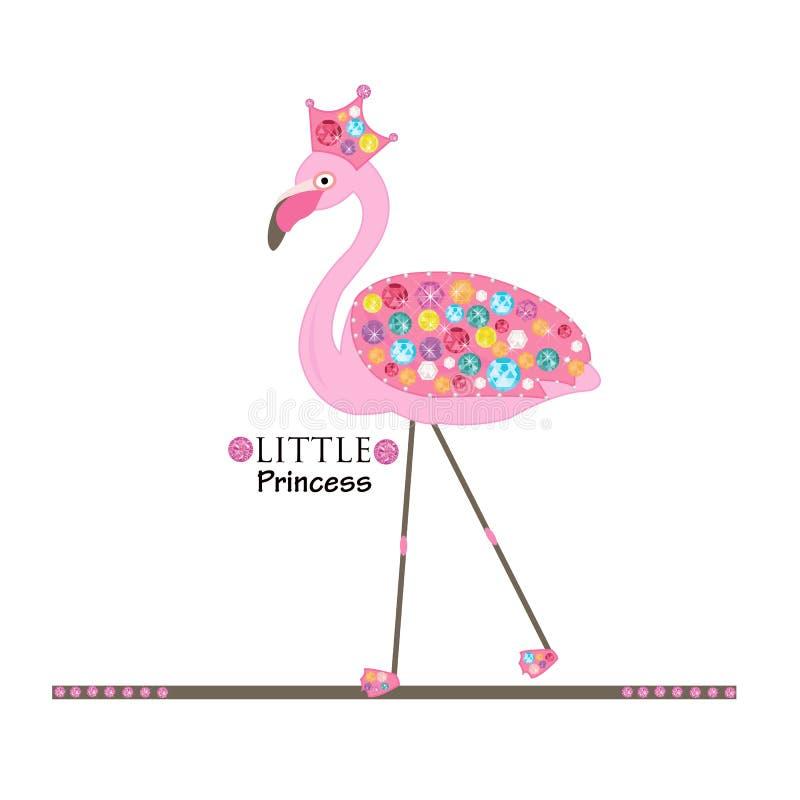 Weinig Prinses flamingo Prinses of koninginflamingo Kleurrijke glanzende diamanten Manierontwerp royalty-vrije illustratie