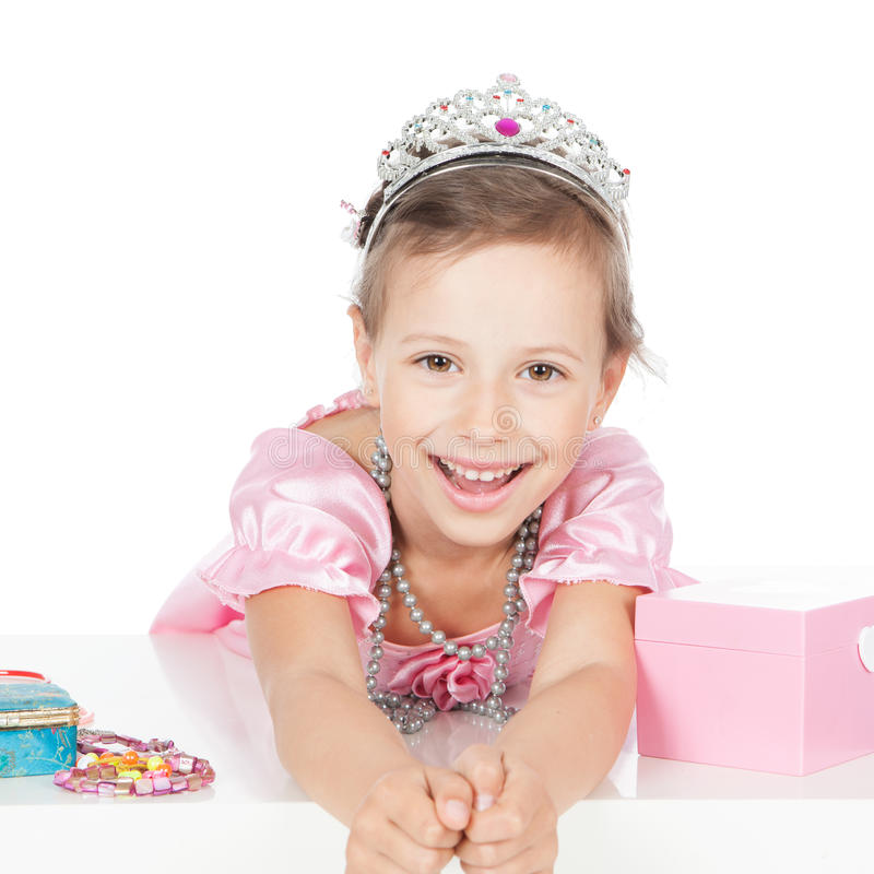 Weinig prinses met een zilveren kroon royalty-vrije stock foto's