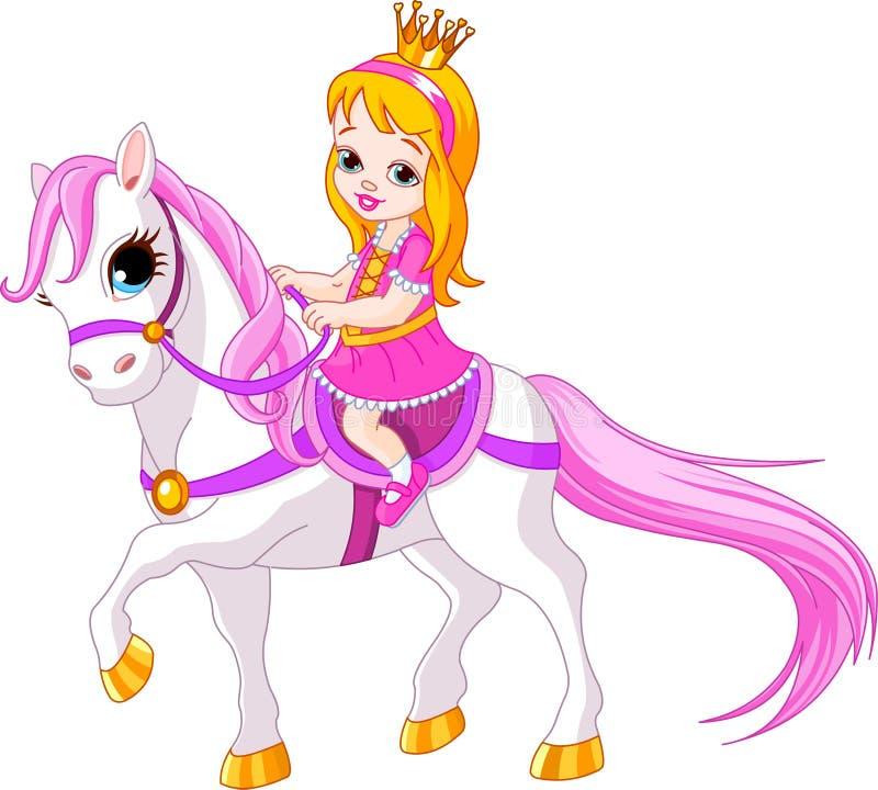 Weinig prinses op paard royalty-vrije illustratie