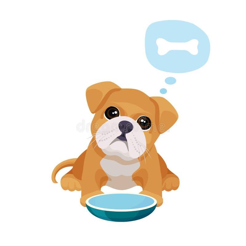 Weinig puppy met grote ogen zit dichtbij lege kom vector illustratie