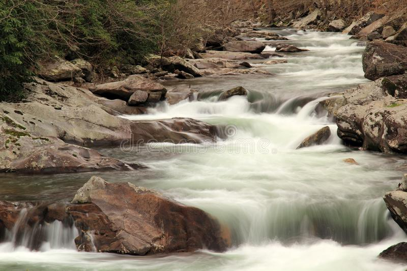 Weinig Rivier in Groot Smokey Mountains National Park stock afbeeldingen