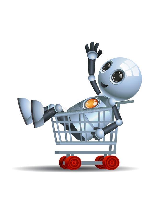 Weinig robot berijdend boodschappenwagentje vector illustratie