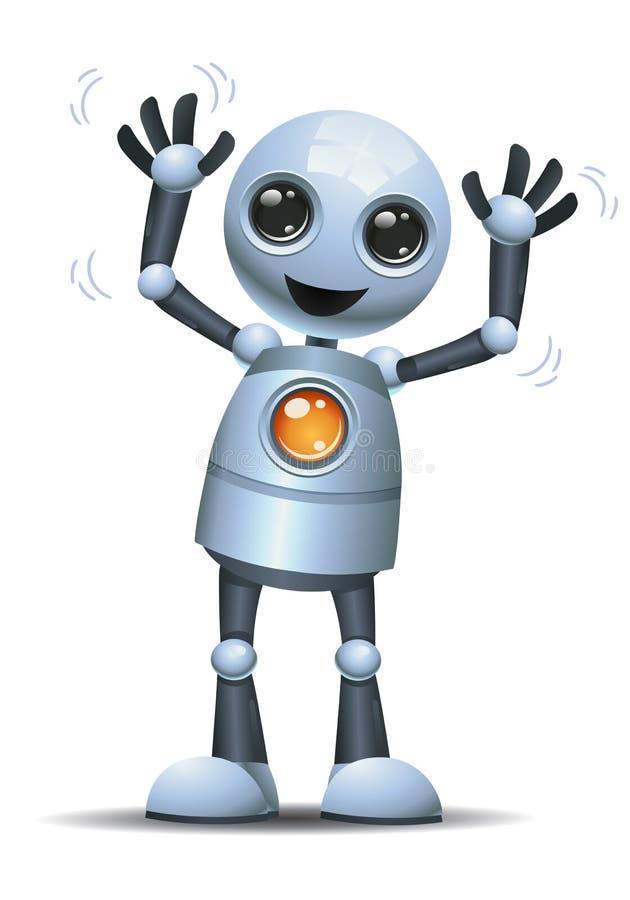 weinig robot die beide hand golven royalty-vrije illustratie