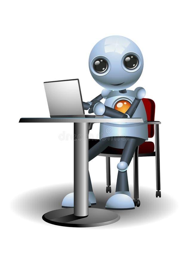 Weinig robot die laptop op bureau met behulp van
