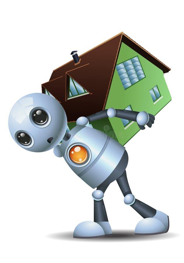 Weinig robot draagt een huis royalty-vrije illustratie