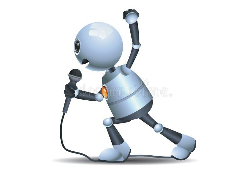 Weinig robot zingt luid het gebruiken van mic stock illustratie
