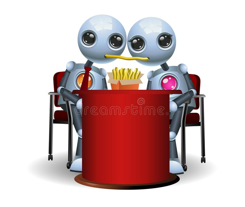 weinig robotpaar dat frieten op romantisch diner eet vector illustratie