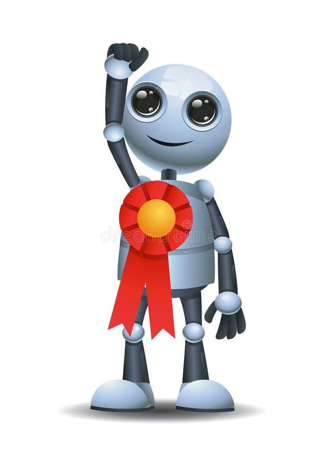 Weinig robotwinst die medailletoekenning dragen stock illustratie