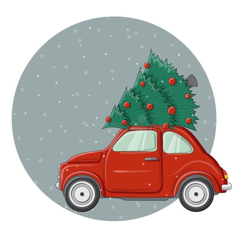 Weinig rode illustratie van de insectenauto met de verfraaide boom van de Kerstmispijnboom op bovenkant vector illustratie