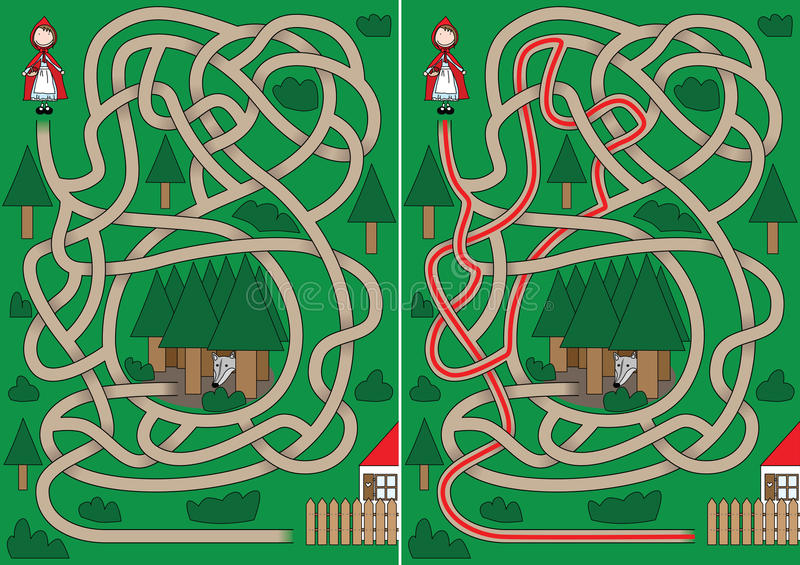Weinig Rood Berijdend labyrint van de Kap stock illustratie