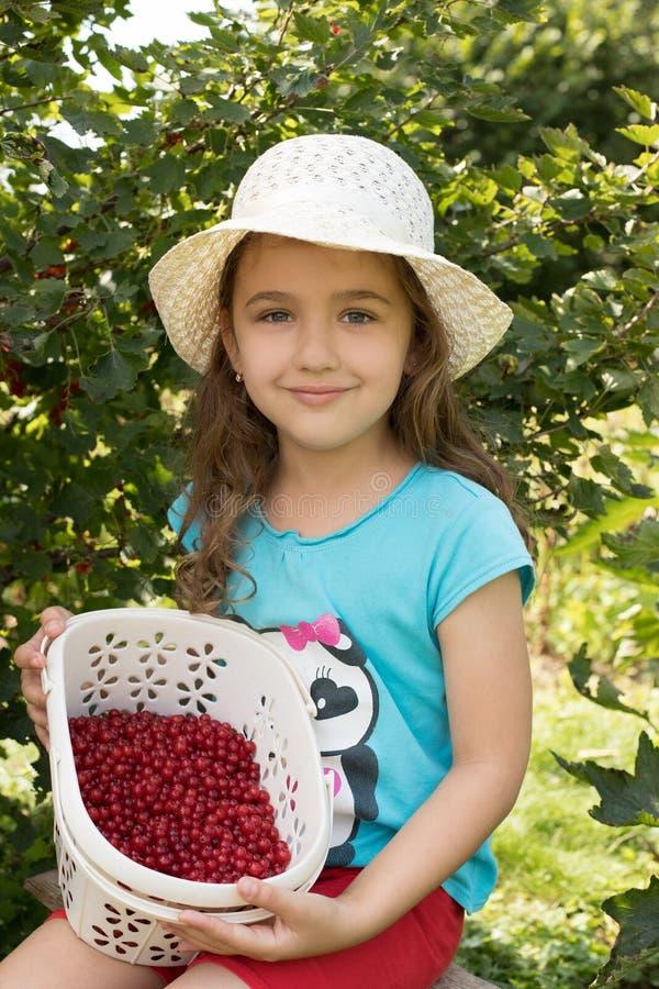 Weinig Russisch Meisje met Rode aalbes in Mand in Tuin stock afbeeldingen