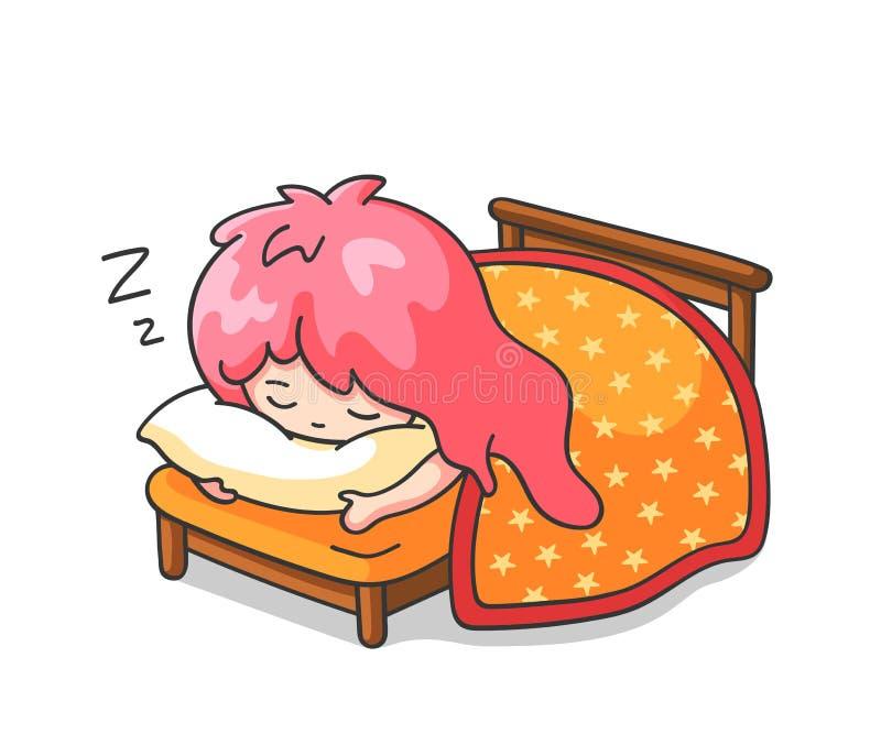 Weinig slaapmeisje die een hoofdkussen koesteren Leuk beeldverhaalkarakter voor emoji, sticker, speld, flard, kenteken royalty-vrije illustratie