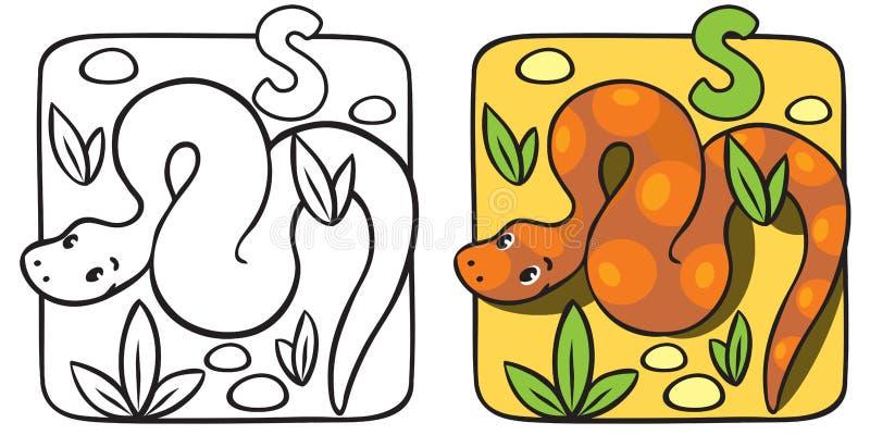 Weinig slang kleurend boek Alfabet S stock illustratie