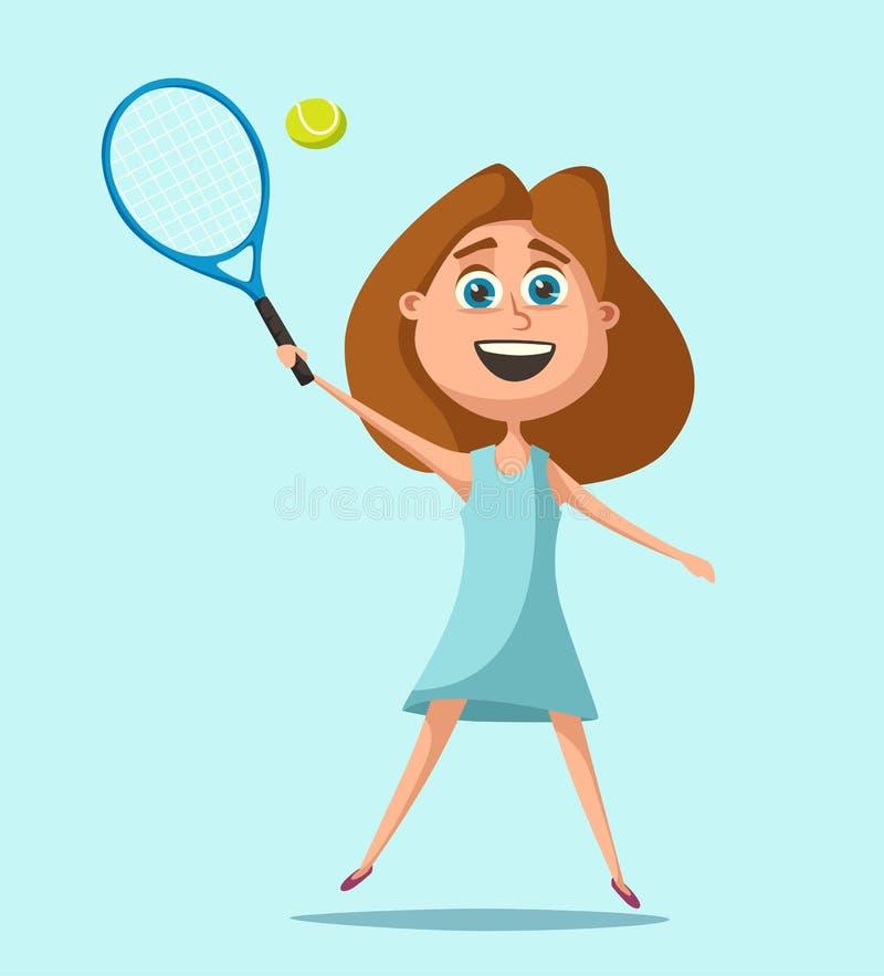Weinig Speler van het Tennis De vectorillustratie van het beeldverhaal royalty-vrije illustratie