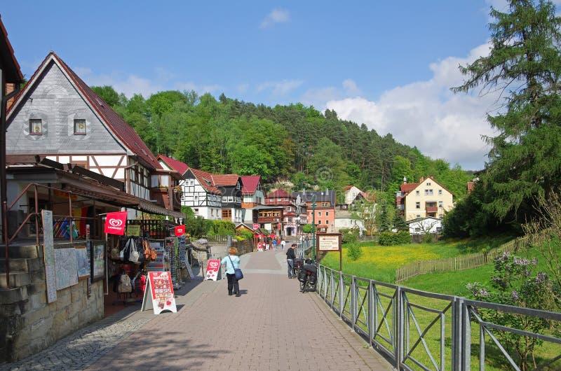 Weinig stad Rathen stock foto's