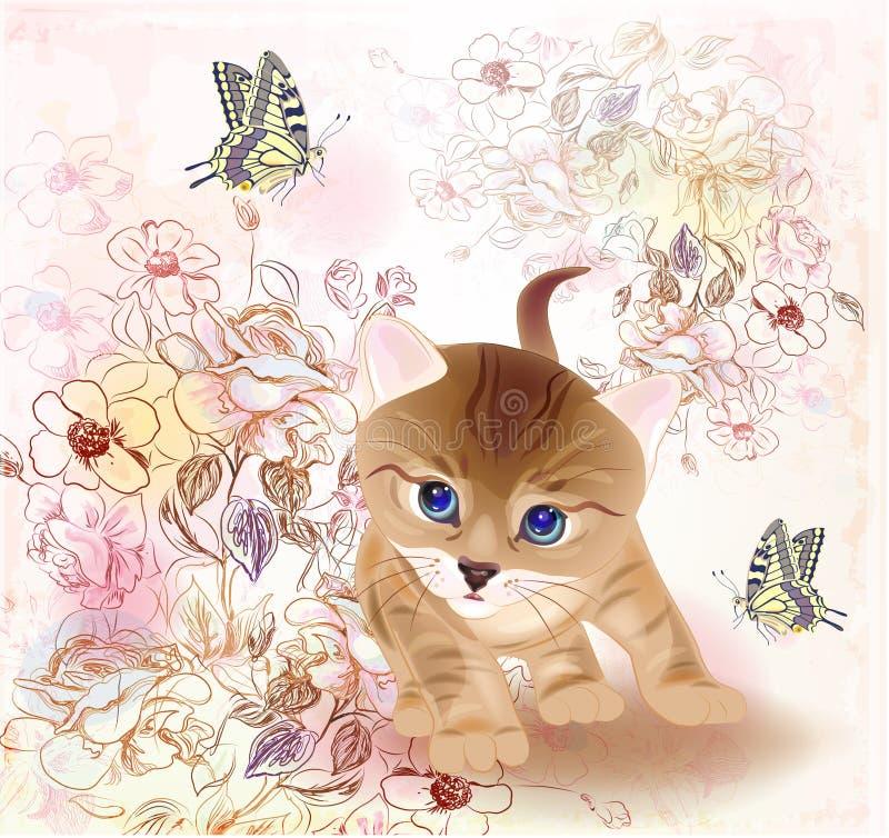 Weinig tabby katje en vlinders royalty-vrije illustratie
