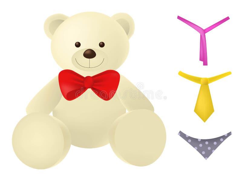 Weinig teddybeerkarakter met verschillende toebehoren dat op witte achtergrond wordt geïsoleerd royalty-vrije illustratie
