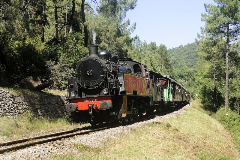 Weinig trein van de toeristenstoom van Anduze royalty-vrije stock foto