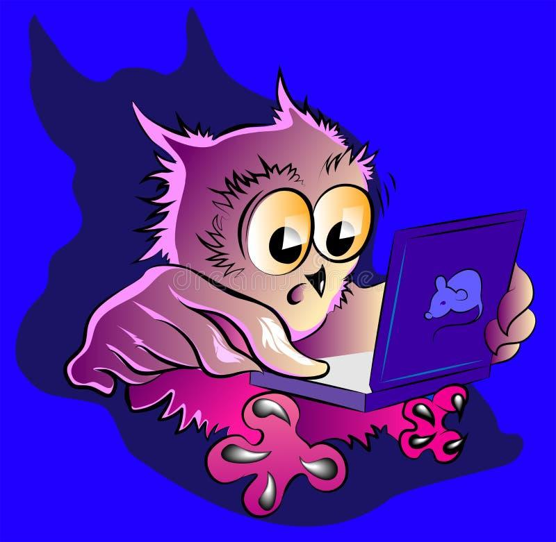 Weinig uil en laptop vector illustratie