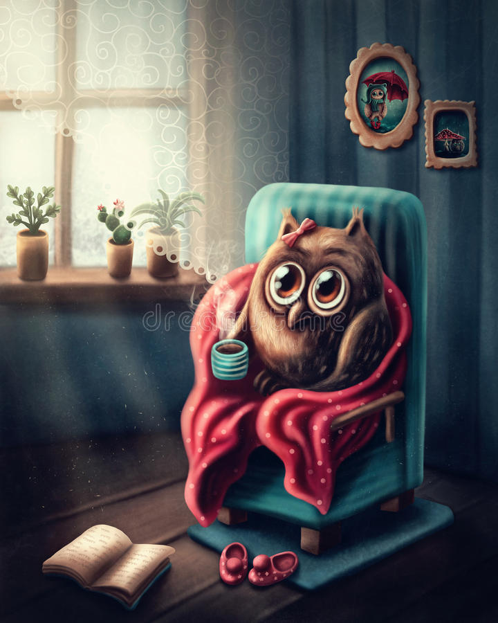 Weinig uil het drinken koffie vector illustratie