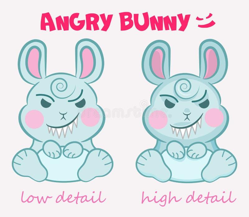 Weinig vector leuk kwaad konijntje zit met een vreselijke glimlach op twee detailwijze Concepten voor de partij van kinderen, geb stock illustratie