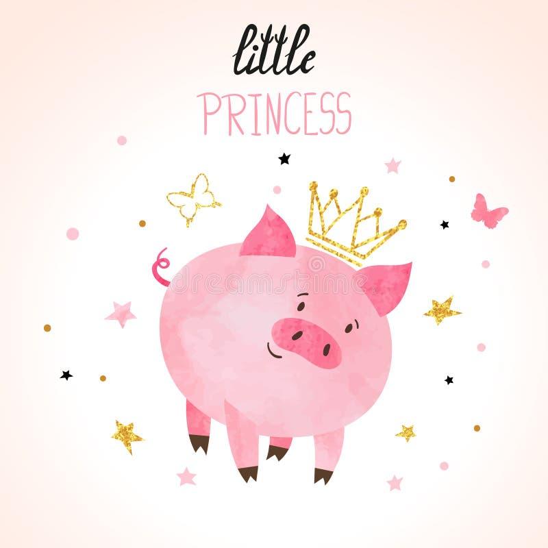 Weinig vectorillustratie van het prinsesvarken royalty-vrije illustratie